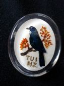 Unusual Vintage Reverse Carved Lucite Bird Brooch from New Zealand (SOLD)